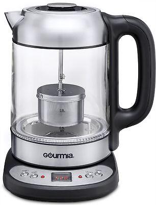 Gourmia Gdk290 Electric Glass Tea Kettle W  Built In Steeping Tea Infuser  2 Qts