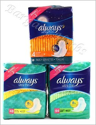 Always Ultra Thin Feminine Hygiene Pads New Free Shipping **3 to choose from**
