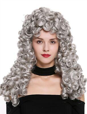 Perücke Damen Herren Barock Renaissance Edelmann lang Locken gelockt silber grau Damen Mann Perücke