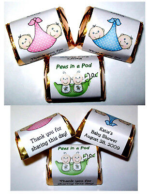60 TWINS PEAS IN A POD BABY SHOWER PARTY FAVORS CANDY WRAPPERS LABELS