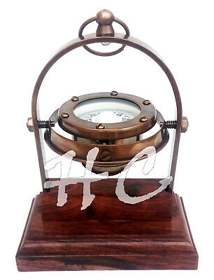 Antique Brass Sailing Ship/Boat Gimble Compass Magnifying/Magnetic/Navigational