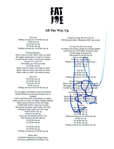 Fat Joe Signed Autographed ALL THE WAY UP Song Lyric Sheet Terror Squad COA