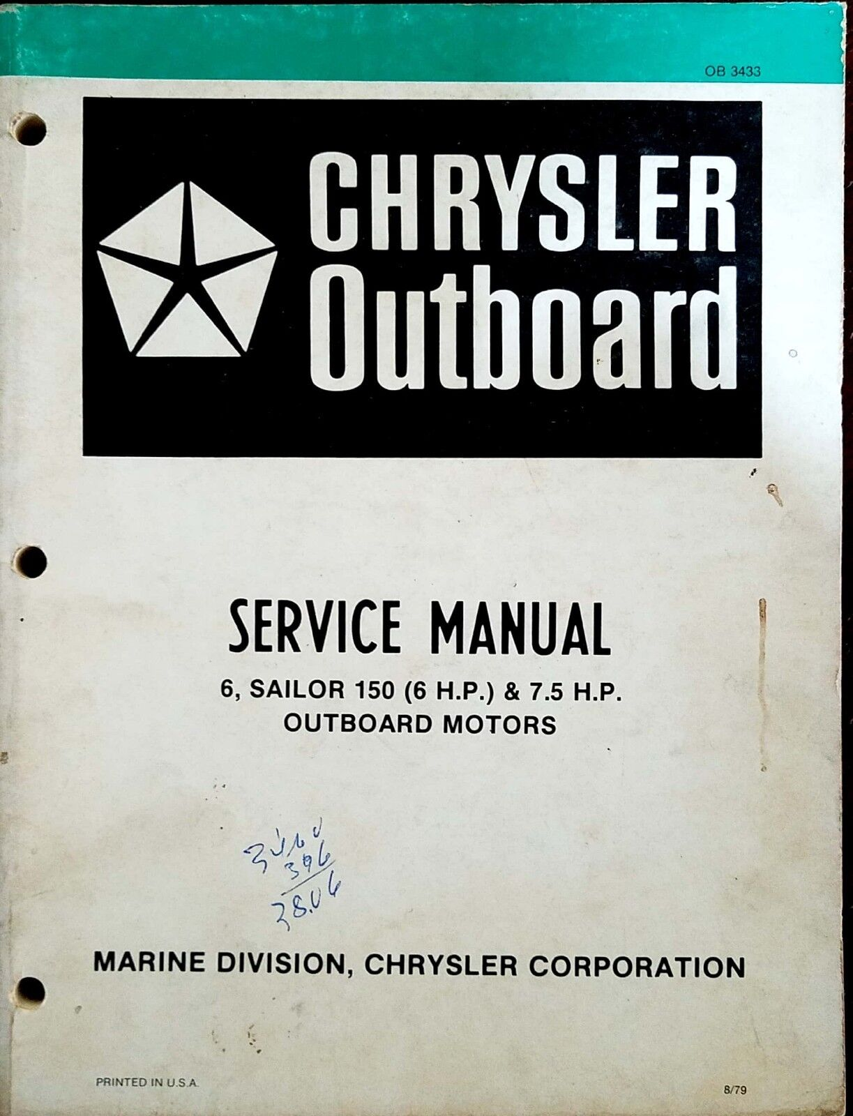 Chrysler Outboard Service Manual for 6HP Sailor 150 7.5HP