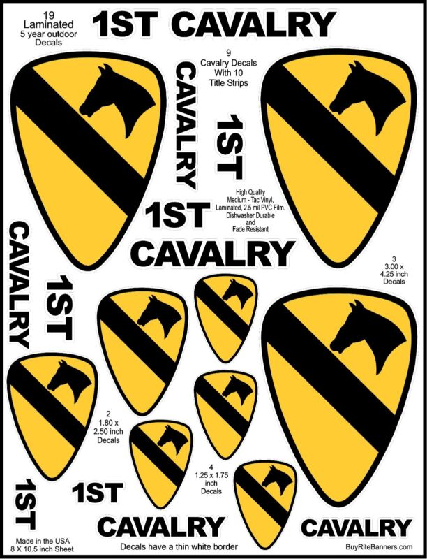 9 US Army 1ST Cav, Cavalry Decal Stickers. Laminated for Durability