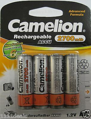 Camelion AA Rechargeable Battery 1.2V Ni-MH 2700mAh 4 Pack