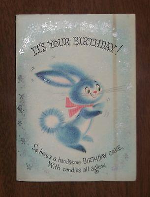 Vintage Birthday Honeycomb Greeting Card - Rabbit Birthday Cake - Hallmark