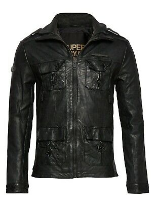 "Superdry Icon Brad Leather Jacket Size: M 38"" (97cm) RRP £229.99"