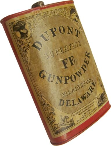 Nice Old One Pound DUPONT Superfine FFg Empty Powder Advertising Tin