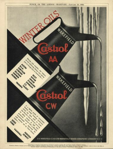 Vintage British CASTRO MOTOR OIL 1934 Advertisement - 2-COLOR ART DECO STYLE