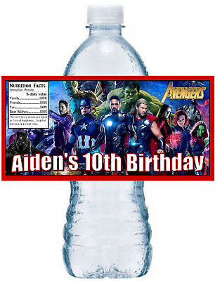 20 ~ AVENGERS BIRTHDAY PARTY FAVORS WATER BOTTLE LABELS