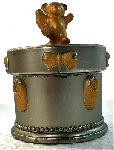 Russ Berrie Heavy Duty Silver & Gold Toned Metal Tooth Fairy Keepsake Box!