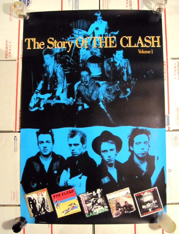 THE CLASH THE STORY OF THE CLASH VOL 1 PROMO POSTER VINTAGE 1988 24.5 W X 36 L