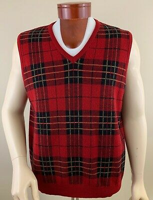 Plaid Sweater Vest (PENDLETON Men's Tartan Plaid V-Neck Merino Wool Sweater Vest Size)