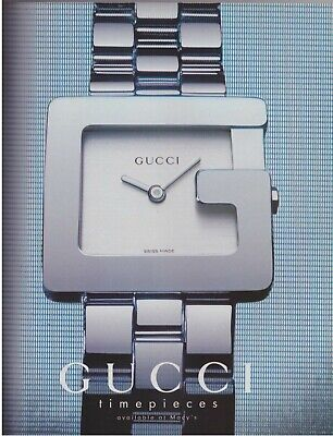 1997 Gucci Silver Square Fashion Timepieces Watch Jewelry Vintage Print Ad 1990s