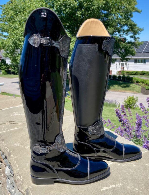 Kingsley Tall Patent Leather Dressage Boots - London 02 - 38.5 MC/M