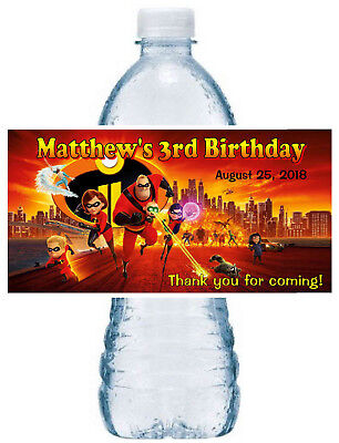 20 ~ THE INCREDIBLES BIRTHDAY PARTY FAVORS WATER BOTTLE LABELS - Bottle Labels