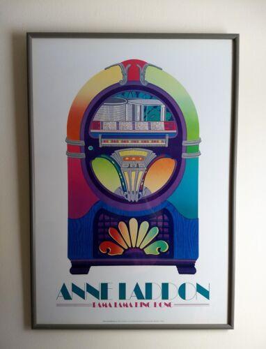 Vintage Wurlitzer Jukebox Poster Rama Lama Ding Dong by Anne Laddon 1982 Framed