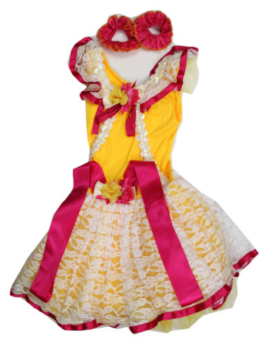 GIRLS COSTUME BALLET YELLOW DRESS SOLO COMPETITION LARGE