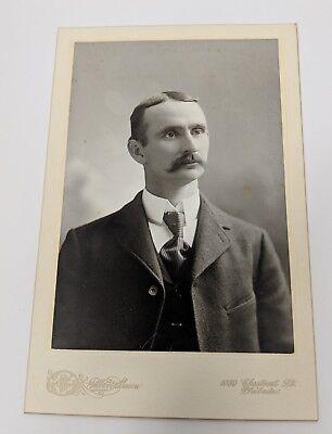Man with Gunslinger Mustache Cabinet Card Photo Photograph Philadelphia - Gunslinger Mustache