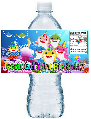 20 BABY SHARK BIRTHDAY PARTY FAVORS WATER BOTTLE LABELS ~ waterproof ink