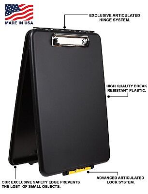 Clipboard Storage Letter Plastic Locking Case Black