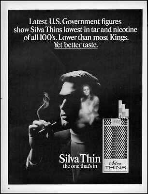 1969 Silva Thins cigarettes image of a woman man vintage photo print ad adL8