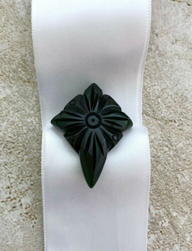 Vintage Small Bakelite Dress Clip, Carved Black Abstract, Mourning