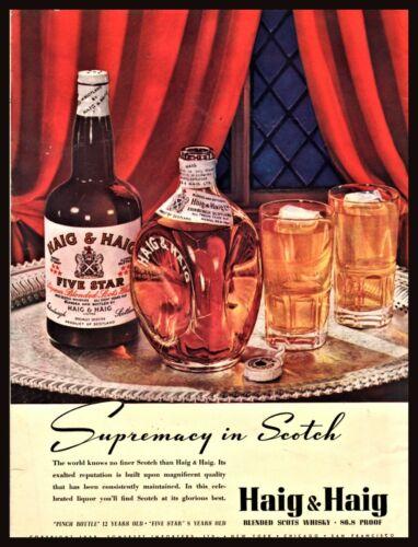 1938 HAIG & HAIG Scotch Pinch Bottle Liquor PRINT AD Bar Decor Man Cave Wall Art