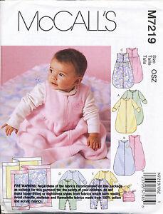 MCCALL'S SEWING PATTERN 7219 BABY S-XL SLEEPING BAG JUMPSUIT/ONESIES HAT BLANKET