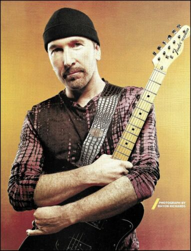U2 The Edge with Fender Telecaster Custom Guitar 2016 color pin-up photo print