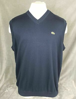 LACOSTE V-Neck Navy Blue Sweater Vest Big Man's Size - 8R