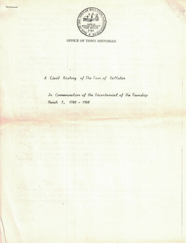 A Civil History of the Town of Ballston (NY) 1788 - 1988