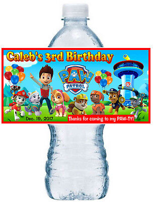 20 ~ PAW PATROL BIRTHDAY PARTY FAVORS WATER BOTTLE LABELS ~ waterproof ink - Paw Patrol Party Supplies