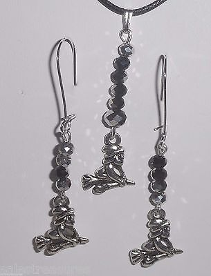 Halloween Broomstick WITCH Charm & Crystals Necklace & Dangle Earrings Set ](Halloween Witches Broomsticks)