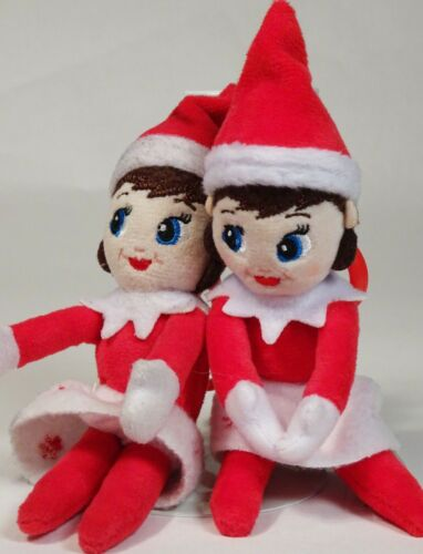 ELF ON THE SHELF Christmas Girl Doll Plush KEYCHAIN Lot of 2