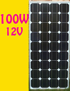 100w watts solar panel pv monocrystalline off grid 12v. Black Bedroom Furniture Sets. Home Design Ideas
