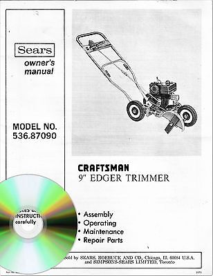 "Sears Craftsman 9"" Edger Trimmer Owner's Manual Model # 536.87090 on CD"