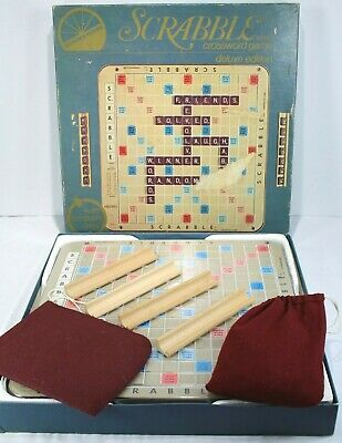 Deluxe Edition Scrabble Game 1977 Version Rotating Board, All Parts & Extra Bag!