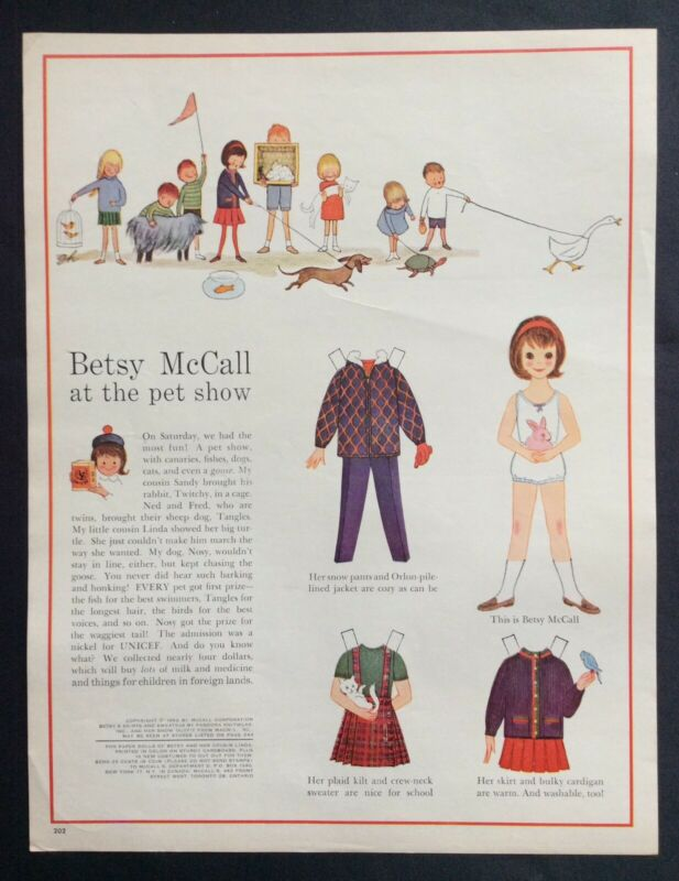 Vintage Betsy McCall Mag. Paper Doll, Betsy McCall at the Pet Show, Oct. 1962