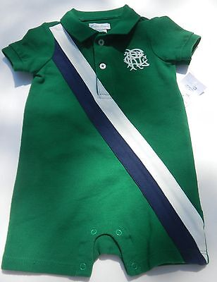 NWT Ralph Lauren Polo Boys One Piece Rugby Style Romper sz 6 mos green #1