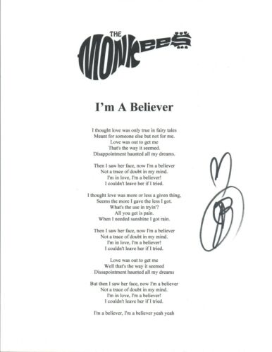 Jeff Barry Signed Autograph The Monkees I'M A BELIEVER Lyric Sheet Producer COA