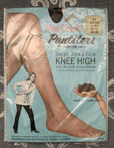 "Vintage NEW CRUSH ""PANSTERS"" - The Answer for Pants! Knee High Stockings OSFA"