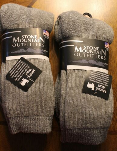 2 Pairs Men / Women 70%  Wool Stone Mountain Outfitter Size Large size 10-13  #2