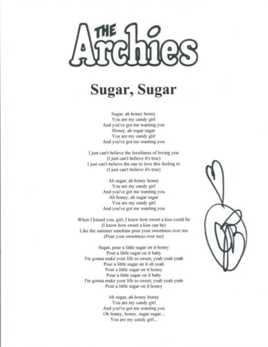 Jeff Barry Signed Autograph The Archies Sugar, Sugar Lyric Sheet Songwriter COA
