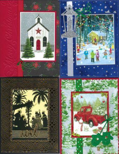 Handmade CHRISTMAS CARDS--half religious #C16--Lot of 4
