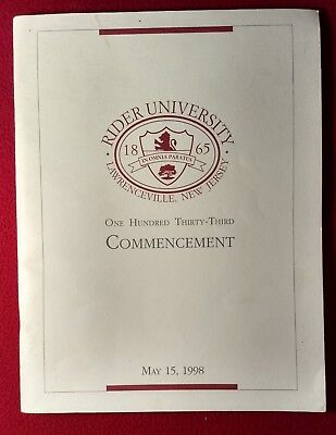 Rider University Commencement Program May 15, 1998 Lawrenceville New Jersey