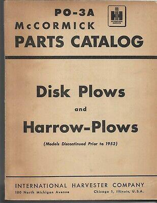 International Ih Mccormick Disk Plows Harrow Plows Parts Catalog Po-3a Original