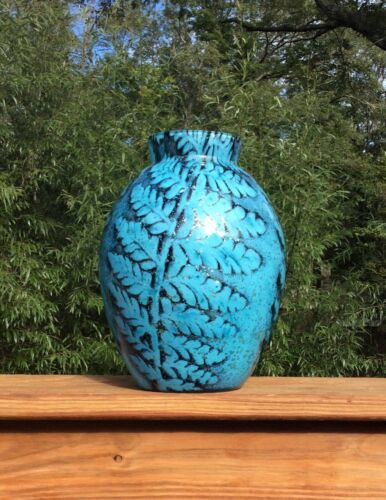 Rare Czech Internally Decorated Powder Art Glass Leaf Design Vase