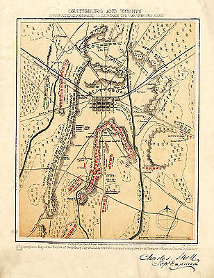 1863 Civil War Map Gettysburg Military Battles Vintage History Wall Art Print