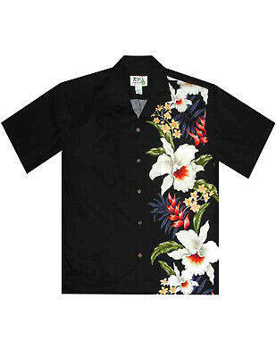 Men's Orchids Heliconia Hawaiian Shirt Side Border Band #KY-CB-459